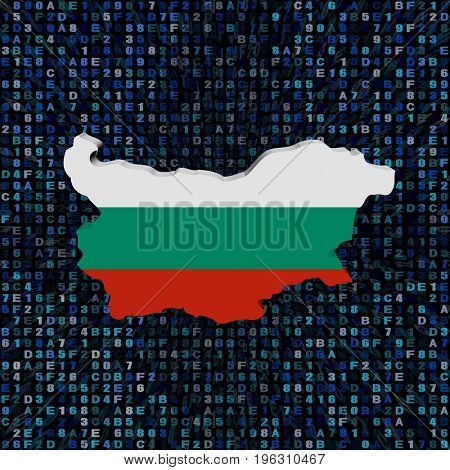 Bulgaria map flag on hex code 3d illustration