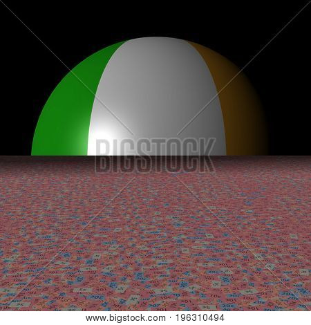 Ireland flag sphere and abstract euros 3d illustration