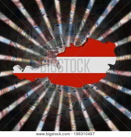 Austria map flag on currency burst 3d illustration