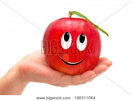 Hand holding red apple isolated on white. Funny characters from the original idea of the concept.
