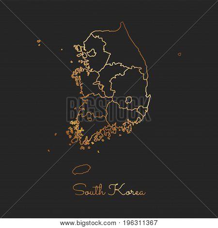 South Korea Region Map: Golden Gradient Outline On Dark Background. Detailed Map Of South Korea Regi