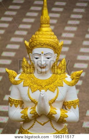 Angle statue is praying hands at Wat Tai Phra Chao Yai Ong TueUbonratchathani ProvinceThailand.