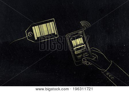 Smartphone User Scanning Price Tag