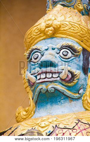 Close Up the Giant statue face at Wat Tai Phra Chao Yai Ong TueUbonratchathani ProvinceThailand.