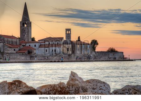 View of Porec skyline and sea at sunset Istria. Croatia