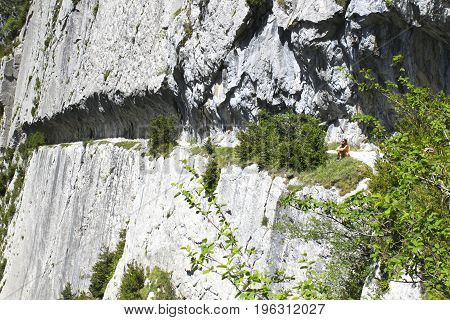Girl In A Mountain Contemplating The Landscape In Summer