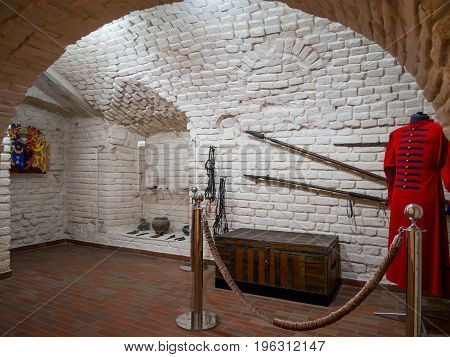 Novozhivotinnoe, Russia - May 26, 2017: Interior of the first floor of the exhibition hall of the Museum-estate of D. Venevitinov