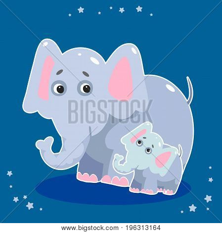 Cute Elephant - Vector File EPS10. Mom and baby elephants on a blue background