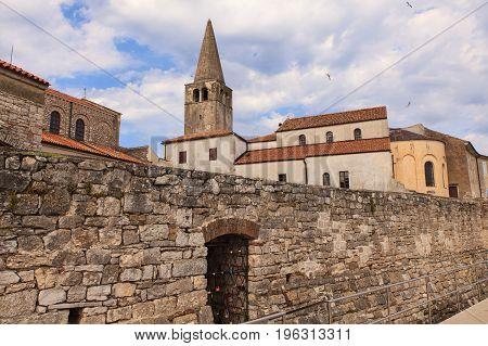 Belltower of the Euphrasian Basilica in Porec Istria. Croatia