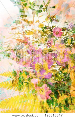 Beautiful artistic floral Summer background with pink flowers