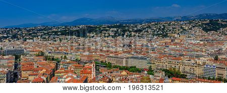 Panorama With The View Of Nice City On The Mediterranean Sea