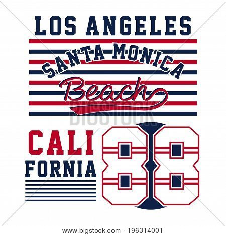 graphic design  los angeles santa monica beach for shirt and print