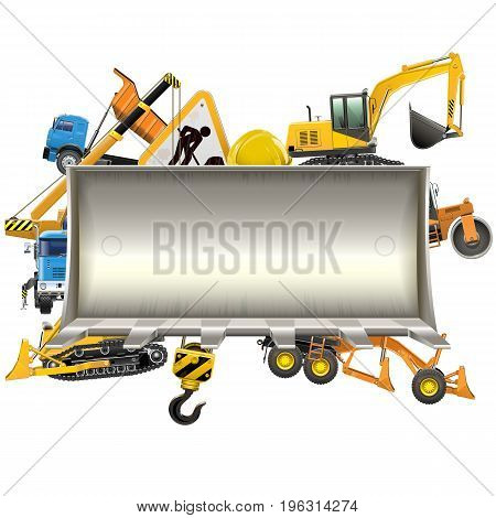 Vector Construction Frame with Bulldozer Shovel isolated on white background