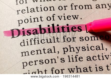 Fake Dictionary Dictionary definition of the word Disabilities. including key descriptive words.