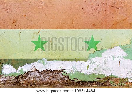 Syrian Flag Painted On A Concrete Wall. Flag Of Syria. Textured Abstract Background