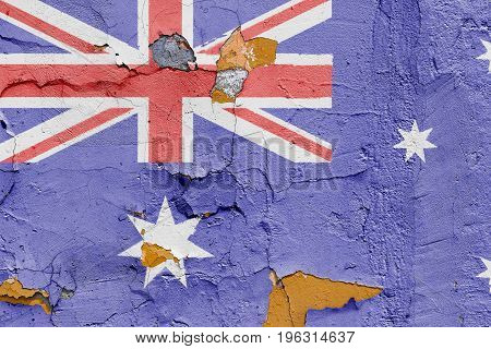 Australian Flag Painted On A Brick Wall. Flag Of Australia. Textured Abstract Background