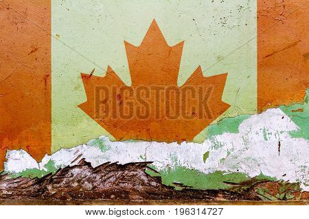 Canadian Flag Painted On A Concrete Wall. Flag Of Canada. Textured Abstract Background