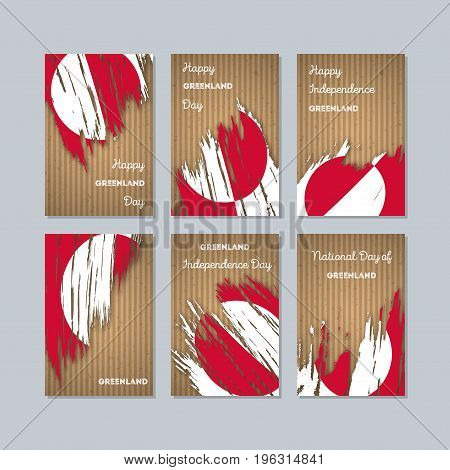 Greenland Patriotic Cards For National Day. Expressive Brush Stroke In National Flag Colors On Kraft