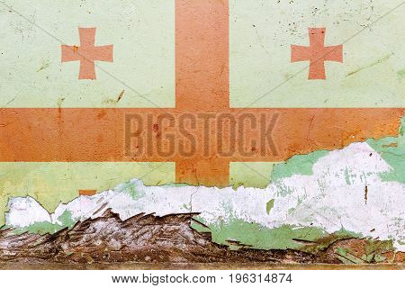 Georgian Flag Painted On A Concrete Wall. Flag Of Georgia. Textured Abstract Background