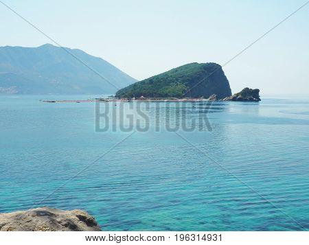 Sea scape of Budva,Montenegro. View over Saint Nikolas island in Adriatic sea.