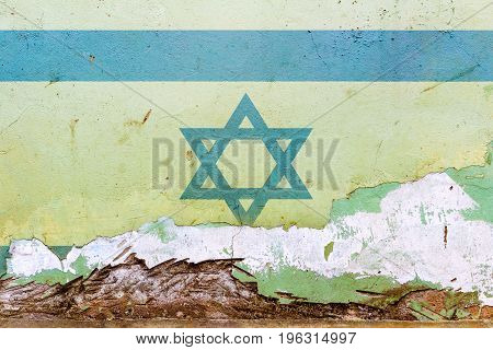 Israeli Flag Painted On A Concrete Wall. Flag Of Israel. Textured Abstract Background