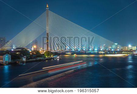 The scene of Rama VIII Bridge across chao pray ya river