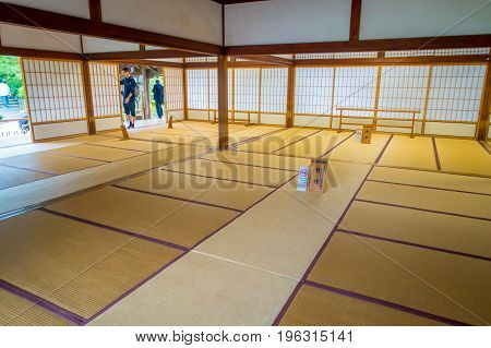 KYOTO, JAPAN - JULY 05, 2017: A room covered with tatami mat at Tenryu-ji on in Kyoto, Japan.