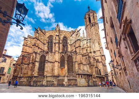 Panorama of Cathedral of the Holy Cross and Saint Eulalia, as seen Freneria Street, Barcelona, Catalonia, Spain