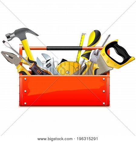 Vector Red Toolbox with Hand Tools isolated on white background