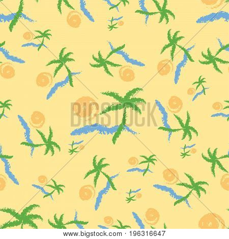 Summer seamless pattern with beach and palm trees