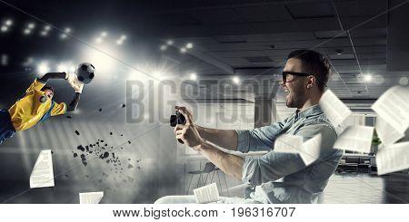 Guy with retro photocamera. Mixed media