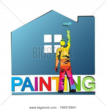 Painter paints house vector illustration for business
