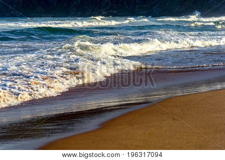 The sea the sand waves and landscape of Tucuns beach in Buzios city Rio de Janeiro