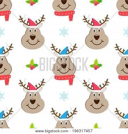 Head deer cartoon christmas seamless pattern vector