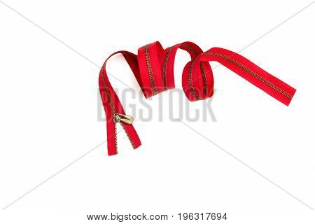 Clothes red zipper closed positions. Zipper like clothing mouth concept. Zippers isolated on white background.