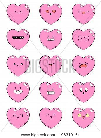 Set of icons with different emotions heart. Collection of emoticons for site, info graphics, video, animation, websites, mails, newsletters, reports, comics