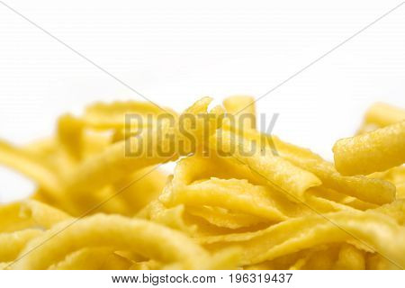 Heap of pasta isolated on white background.With copyspace