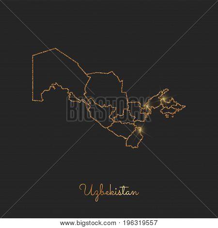 Uzbekistan Region Map: Golden Glitter Outline With Sparkling Stars On Dark Background. Detailed Map