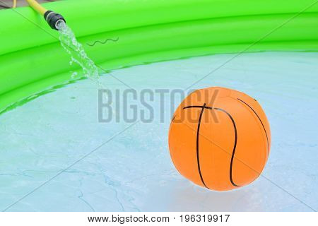 Inflatable Swimming Pool Full Of Water With Various Children's Games