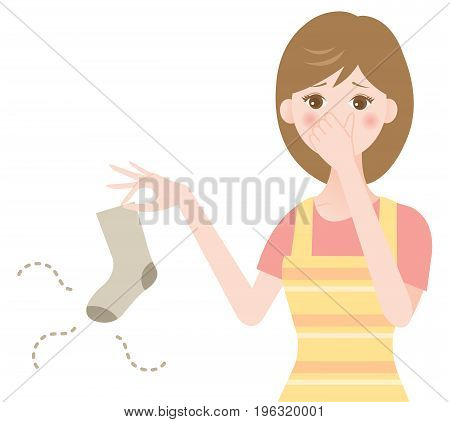 woman holding smelly socks and clogged nose