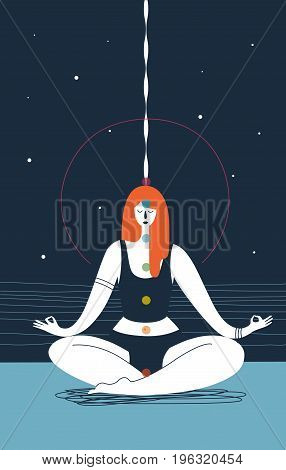 Woman with closed eyes and seven chakras of different colors sits in yoga position and meditates against blue background. Concept of physical health and meditation. Vector illustration for poster