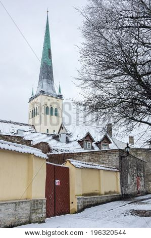 Saint Olaf church in Old Town of Tallinn Estonia