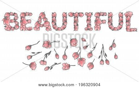 BEAUTIFUL sign or lettering made with sakura flowers and leaves - floral alphabet letters set, vector design