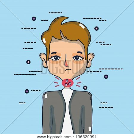 man with sore throat infection symptoms virus vector illustration