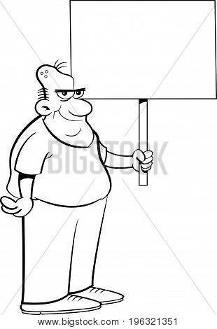 Black and white illustration of a zombie holding a sign.