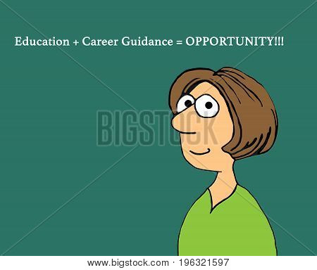 Education cartoon illustration showing a smiling woman and language about 'opportunity'.