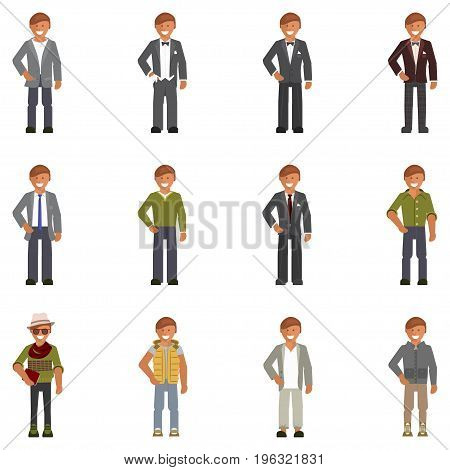 Set of men in fashion clothes and shoes. Dress code for man isolated on white background. Vector illustration eps 10