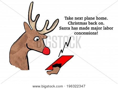 Christmas cartoon showing the red-nosed reindeer getting a message about labor negotiation with Santa Claus on his cell phone.