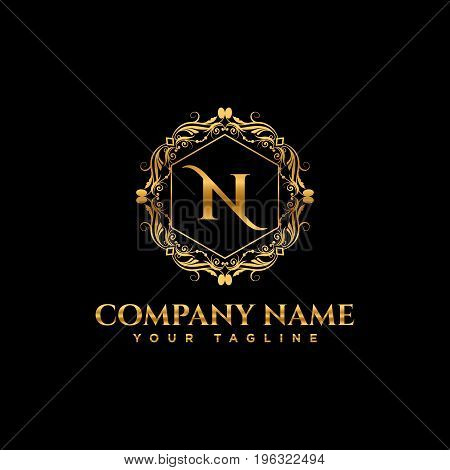 Luxury logo. Calligraphic pattern elegant decor elements. Vintage vector ornament Signs and Symbols. The Letters N. luxury logo template. EPS8,EPS10