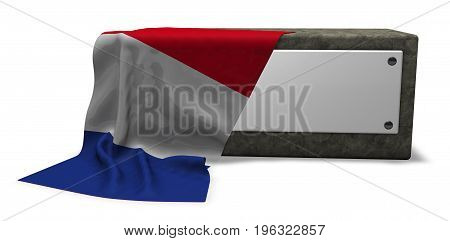 stone socket with blank sign and flag of france - 3d rendering
